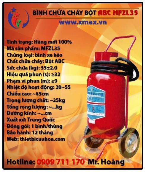 Bình chữa cháy bột khô ABC MFZL 35kg loại xe đẩy