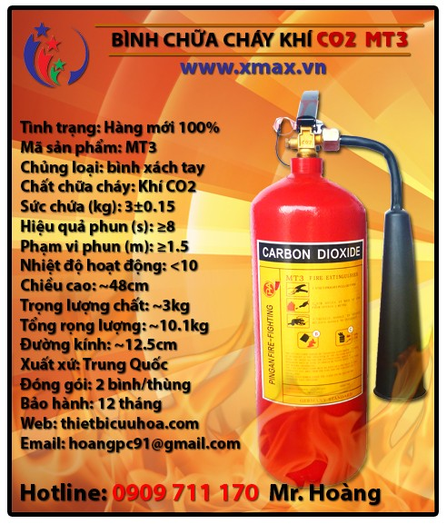 Báo giá bình chữa cháy khí lạnh CO2 MT3 3kg, MT5 5kg, MT24 24kg kèm dịch vụ bảo dưỡng phụ kiện thiết bị cứu hỏa uy tín 1