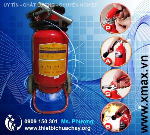 bình chữa cháy loại lớn 35kg có xe đẩy
