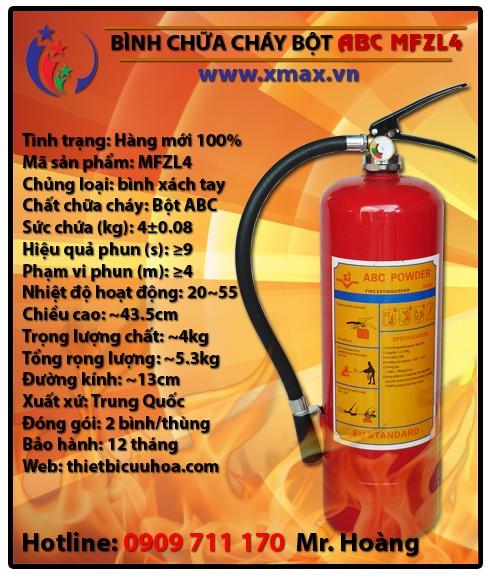 Bình chữa cháy dạng bột khô ABC MFZL4 4kg loại xách tay