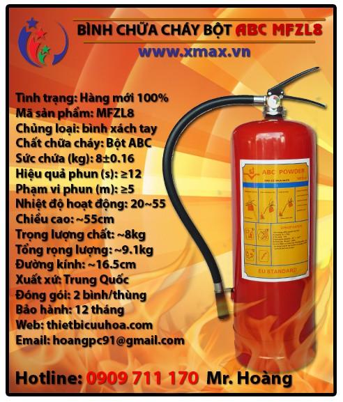 Bình chữa cháy dạng bột khô ABC MFZL8 8kg loại xách tay