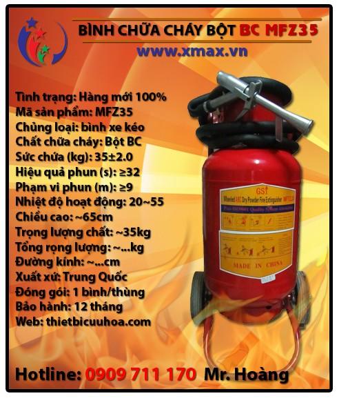 Bình chữa cháy bột khô BC MFZ35 35kg loại xe đẩy