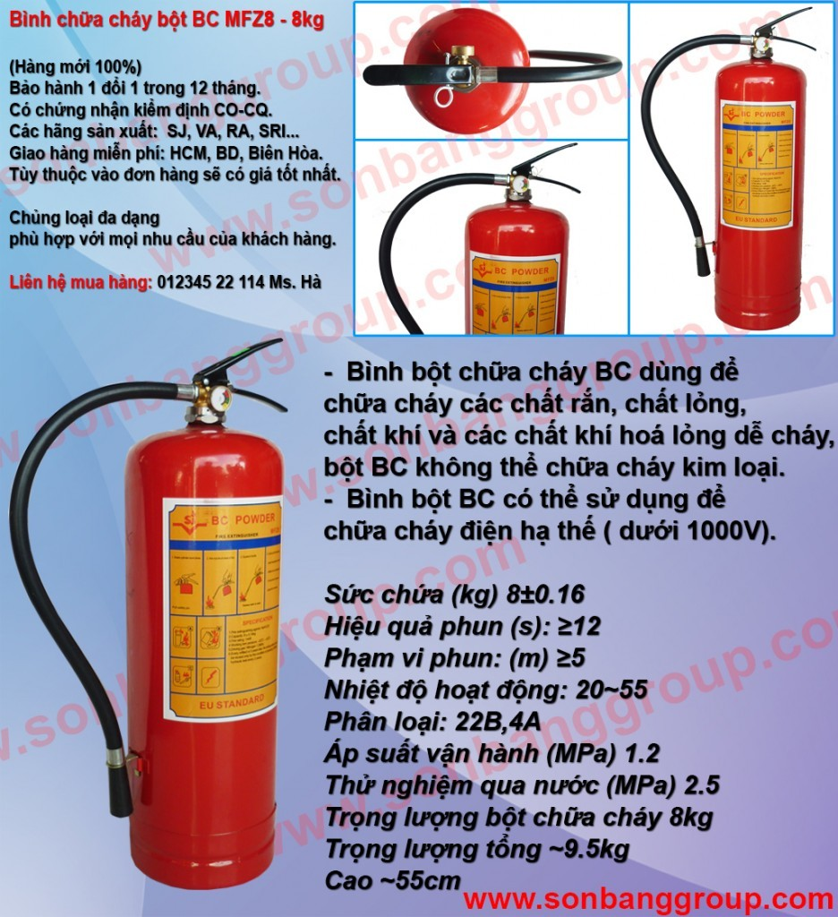 Cung cấp bình chữa cháy chủng loại bột khô BC MFZ 4kg, 8kg, 35kg, bình cứu hỏa khí lạnh CO2 MT 3kg, 5kg giá rẻ phần 2